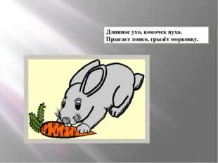 Длинное ухо, комочек пуха. Прыгает ловко, грызёт морковку.