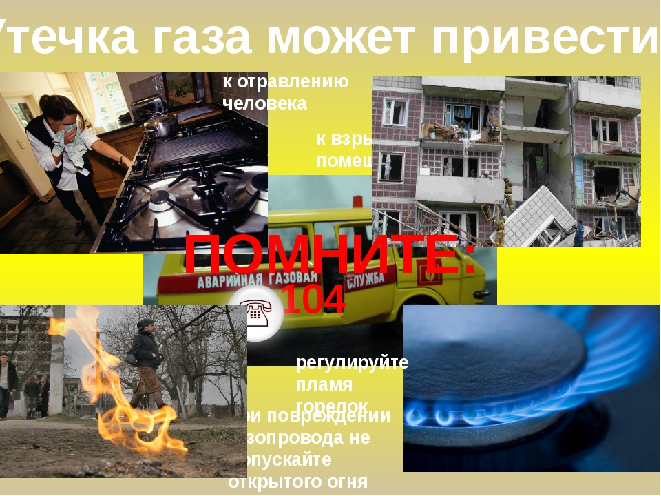 Утечка газа может привести: к отравлению человека к взрыву в помещении регули...