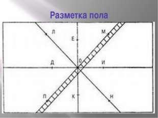 Разметка пола При помощи мелованного шнура проводим линию, соединяющую середи