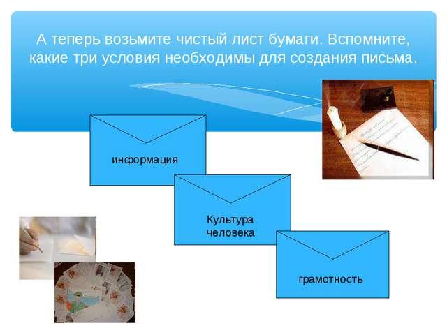 А теперь возьмите чистый лист бумаги. Вспомните, какие три условия необходимы...