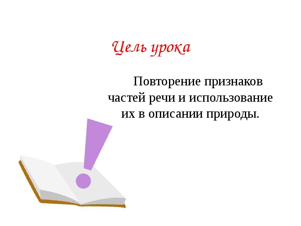 Цель урока Повторение признаков частей речи и использование их в описании пр...