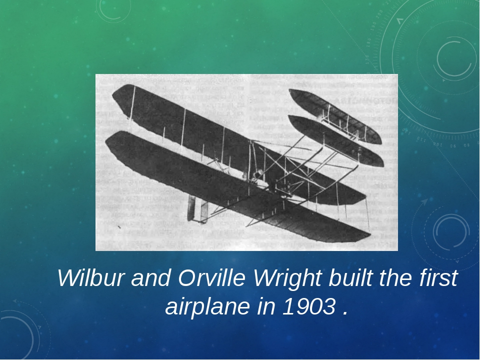 Wilbur and Orville Wright built the first airplane in 1903 .