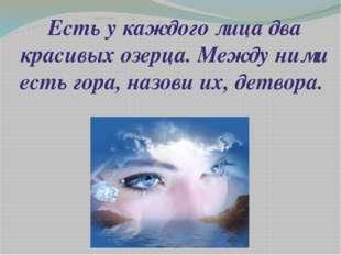 Есть у каждого лица два красивых озерца. Между ними есть гора, назови их, дет