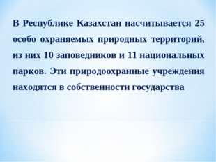 В Республике Казахстан насчитывается 25 особо охраняемых природных территорий