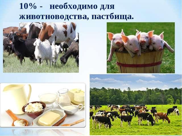 10% - необходимо для животноводства, пастбища.