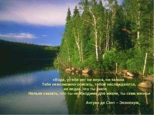 «Вода, у тебя нет ни вкуса, ни запаха Тебя невозможно описать, тобой наслажд