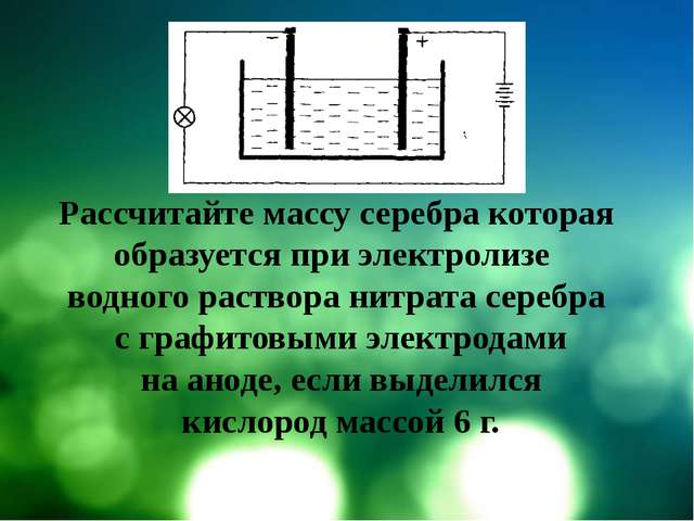 Рассчитайте массу серебра которая образуется при электролизе водного раствор...