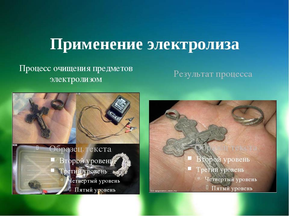 Применение электролиза Процесс очищения предметов электролизом Результат проц...
