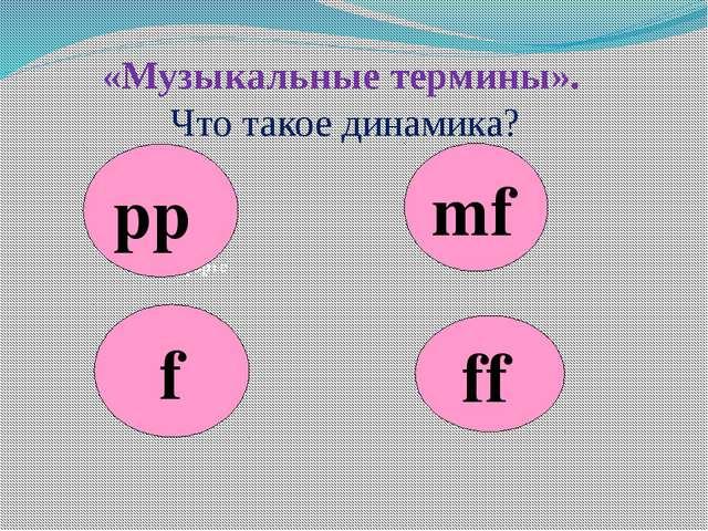 «Музыкальные термины». Что такое динамика? f – форте pp mf ff
