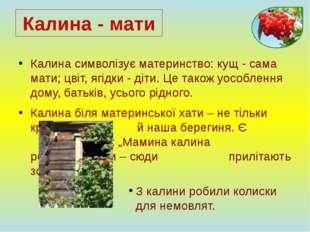Калина символізує материнство: кущ - сама мати; цвіт, ягідки - діти. Це також