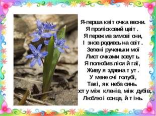Я-перша квіточка весни. Я пролісковий цвіт. Я пережив зимові сни, І знов роди