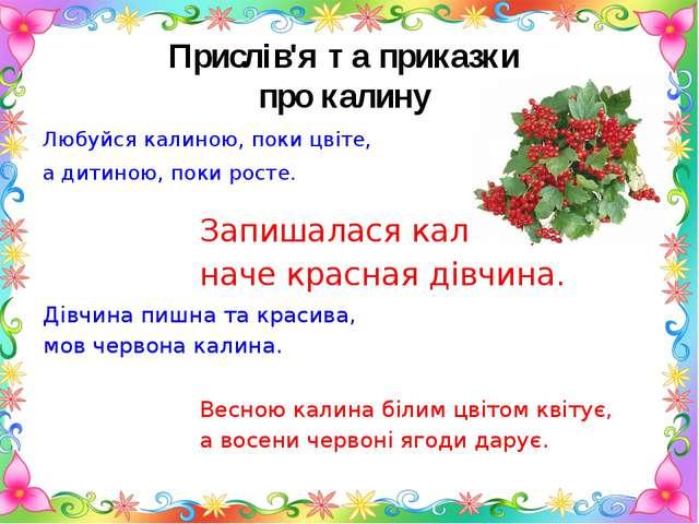 Прислів'я та приказки про калину Любуйся калиною, поки цвіте, а дитиною, поки...