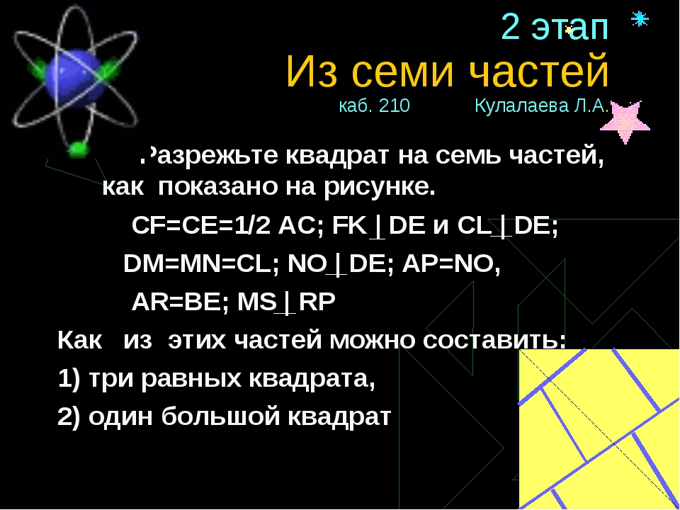 2 этап Из семи частей каб. 210Кулалаева Л.А.  Разрежьте квадрат на семь ча...