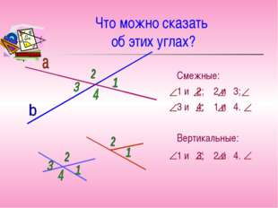 Что можно сказать об этих углах? Смежные: 1 и 2; 2 и 3; 3 и 4; 1 и 4. Вертика