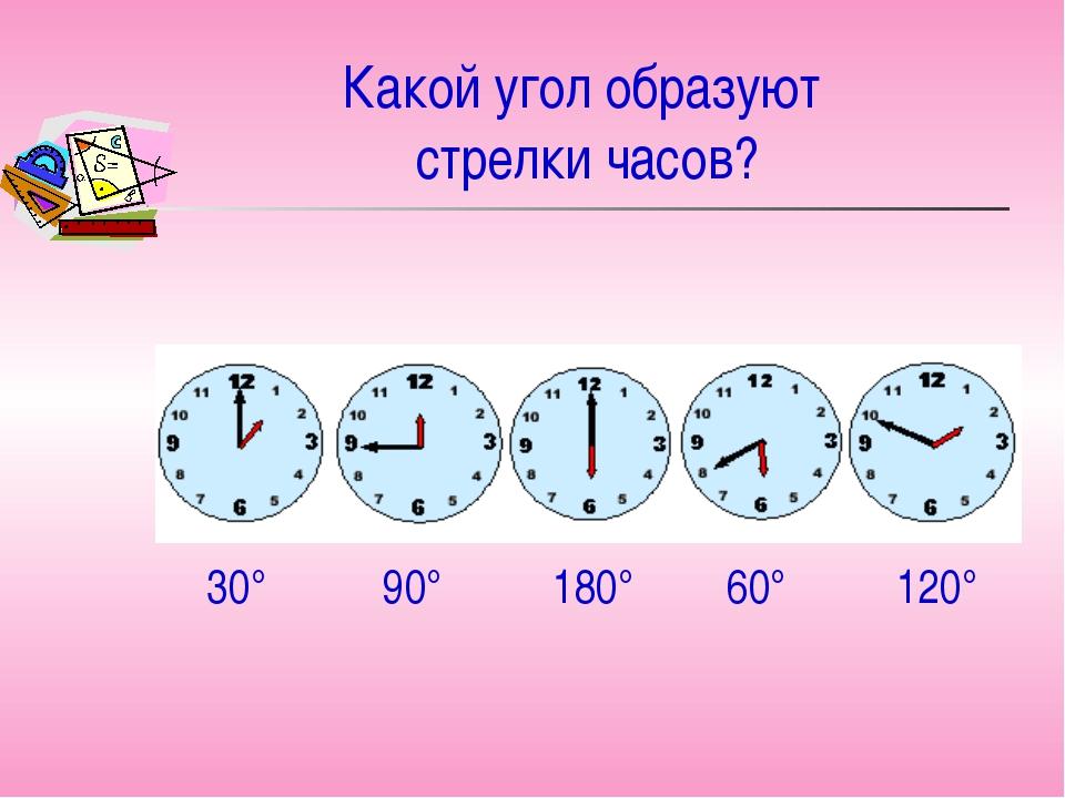 Какой угол образуют стрелки часов? 30° 90° 180° 60° 120°