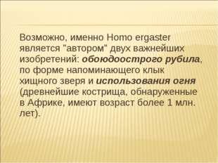 """Возможно, именно Homo ergaster является """"автором"""" двух важнейших изобретений"""