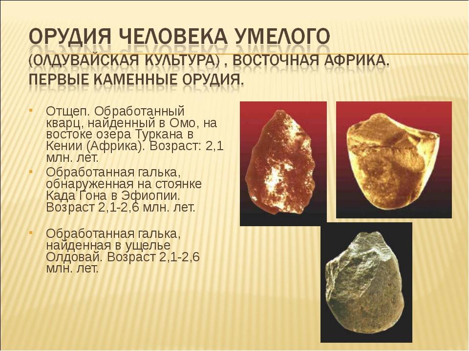 Отщеп. Обработанный кварц, найденный в Омо, на востоке озера Туркана в Кении...