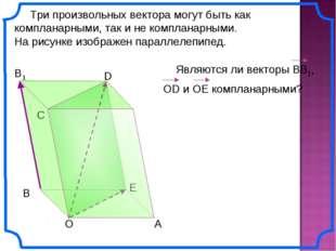 Три произвольных вектора могут быть как компланарными, так и не компланарным