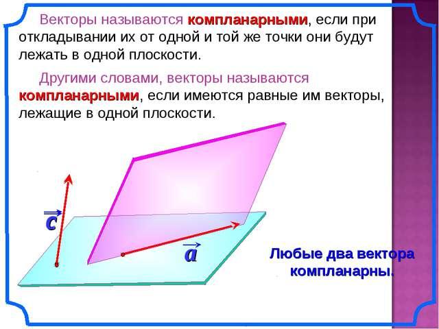 Векторы называются компланарными, если при откладывании их от одной и той же...