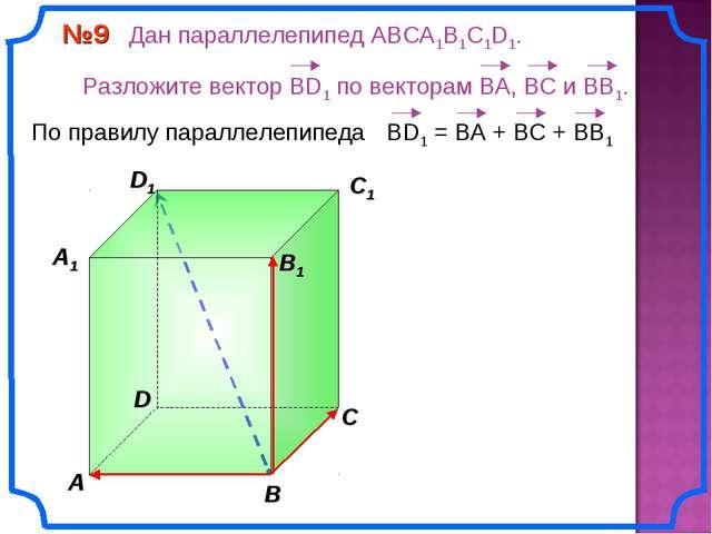 В A С C1 D1 №9 Дан параллелепипед АВСA1B1C1D1. Разложите вектор BD1 по вектор...