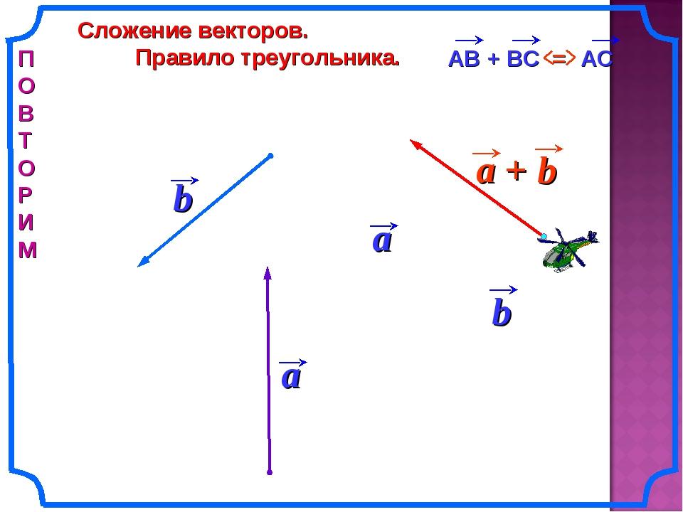 Сложение векторов. Правило треугольника. b П О В Т О Р И М