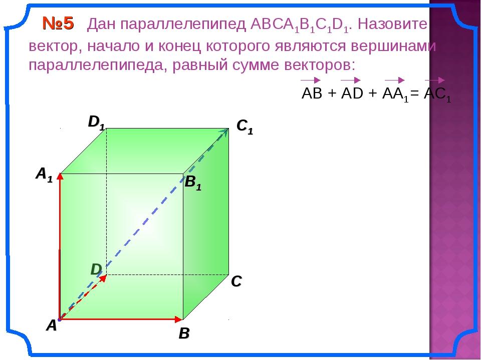 В A С B1 C1 D1 №5 Дан параллелепипед АВСA1B1C1D1. Назовите вектор, начало и к...