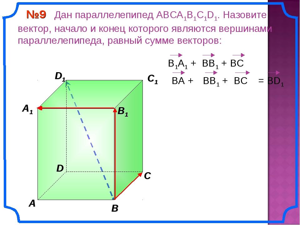 В A С C1 D1 №9 Дан параллелепипед АВСA1B1C1D1. Назовите вектор, начало и коне...