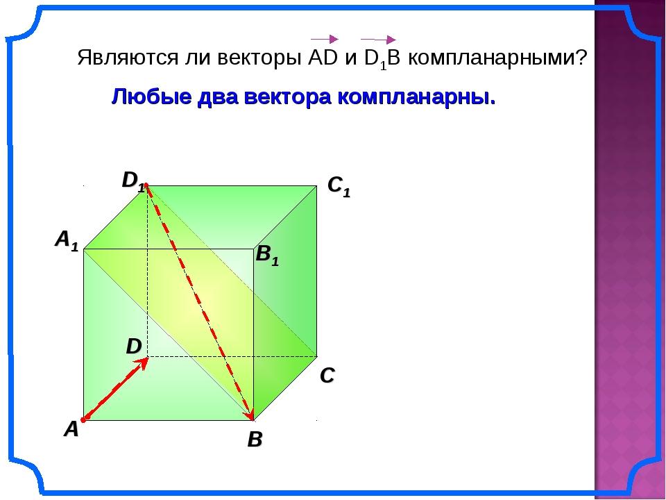 A B C A1 B1 C1 D1 D Любые два вектора компланарны.