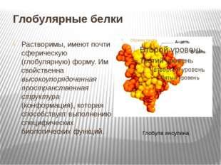 Глобулярные белки Растворимы, имеют почти сферическую (глобулярную) форму. Им