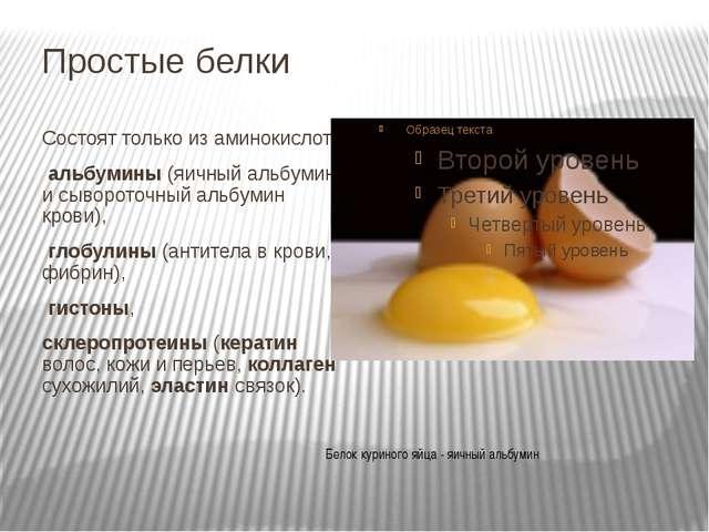 Простые белки Состоят только из аминокислот: альбумины (яичный альбумин и сыв...