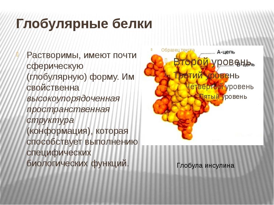 Глобулярные белки Растворимы, имеют почти сферическую (глобулярную) форму. Им...