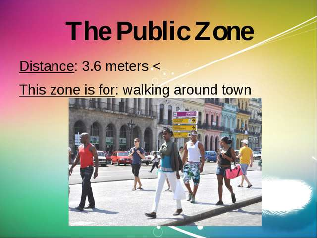 The Public Zone Distance: 3.6 meters < This zone is for: walking around town