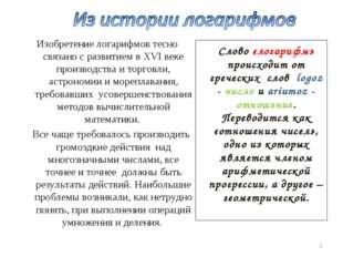 Слово «логарифм» происходит от греческих слов logoz - число и ariumoz - отно