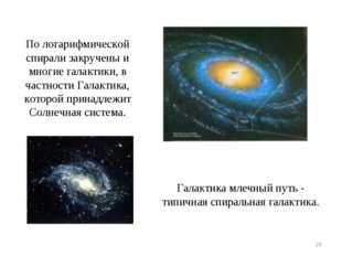 * По логарифмической спирали закручены и многие галактики, в частности Галакт