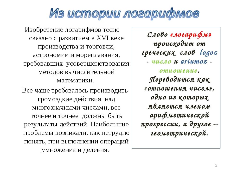 Слово «логарифм» происходит от греческих слов logoz - число и ariumoz - отно...