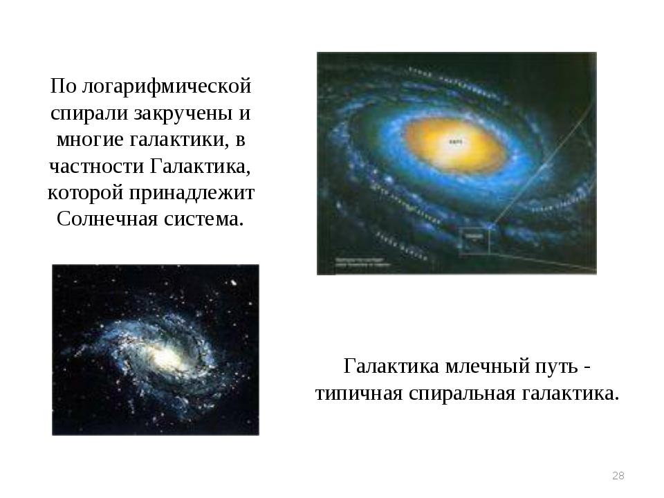 * По логарифмической спирали закручены и многие галактики, в частности Галакт...