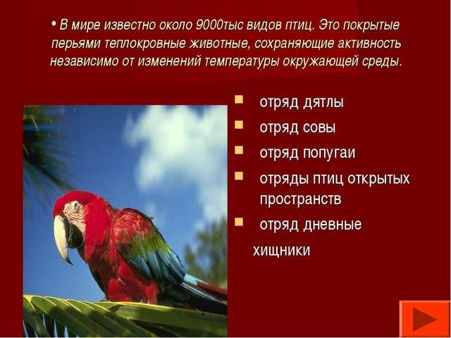 В мире известно около 9000тыс видов птиц. Это покрытые перьями теплокровные...