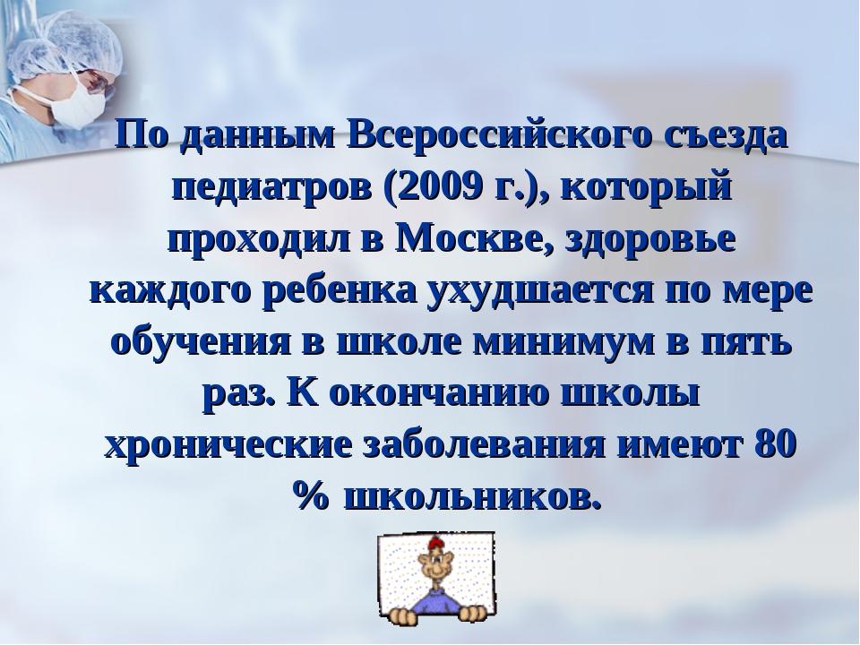 По данным Всероссийского съезда педиатров (2009 г.), который проходил в Москв...