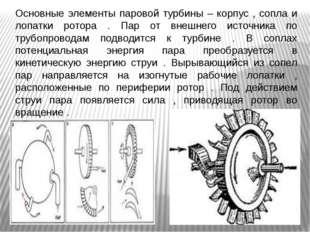Основные элементы паровой турбины – корпус , сопла и лопатки ротора . Пар от