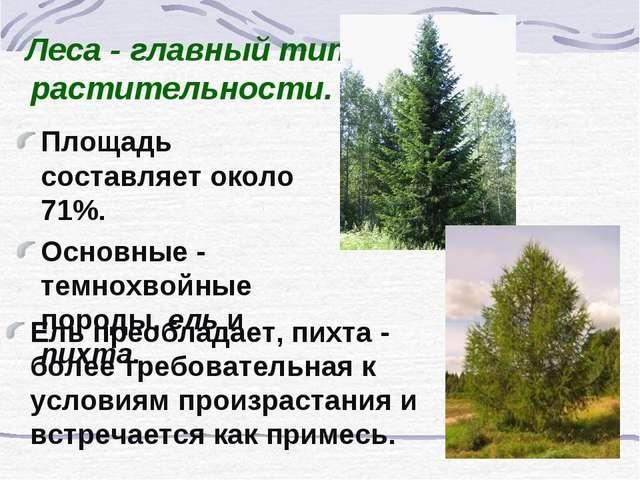 Леса - главный тип растительности. Площадь составляет около 71%. Основные - т...