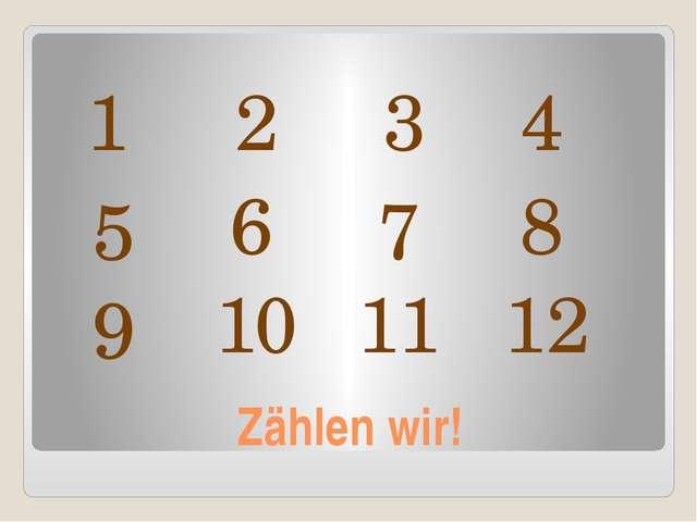 Zählen wir! 1 2 3 4 5 6 7 8 9 10 11 12