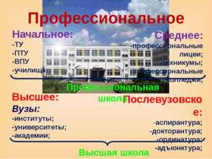 Профессиональное Начальное: -ТУ -ПТУ -ВПУ -училища Среднее: -профессиональные