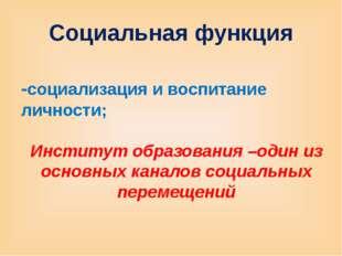 Социальная функция -социализация и воспитание личности; Институт образования