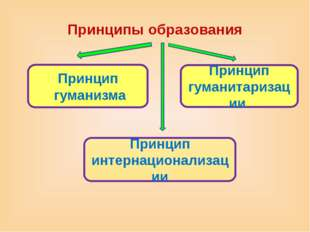Принципы образования Принцип гуманитаризации Принцип интернационализации Прин