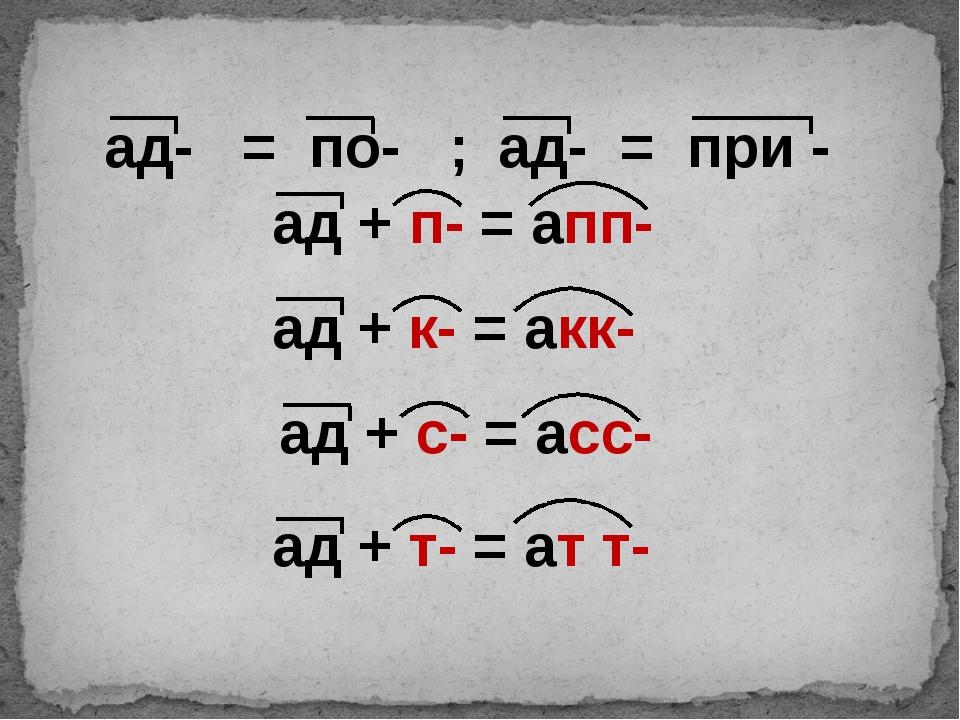 ад + п- = апп- ад + к- = акк- ад + с- = асс- ад + т- = ат т- ад- = по- ; ад-...