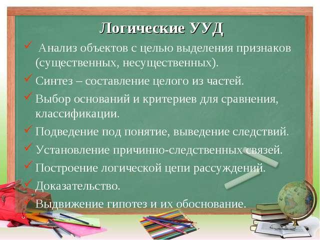 Логические УУД Анализ объектов с целью выделения признаков (существенных, нес...