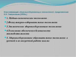 Классификация здоровьесберегающих технологий, предложенная Н.К. Смирновым (20