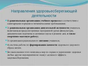 Направления здоровьесберегающей деятельности 1)рациональная организация учеб