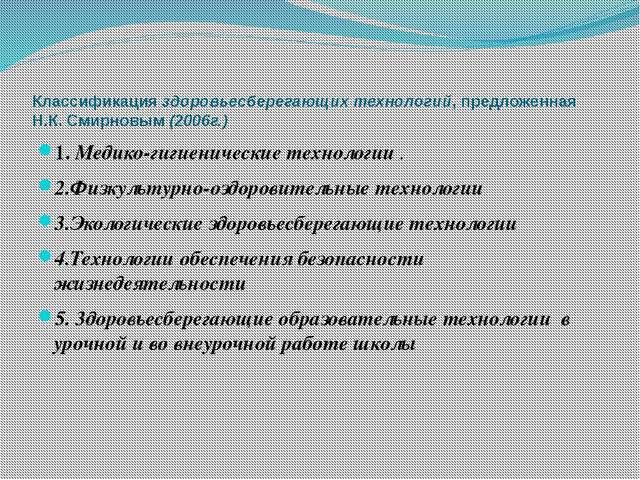 Классификация здоровьесберегающих технологий, предложенная Н.К. Смирновым (20...
