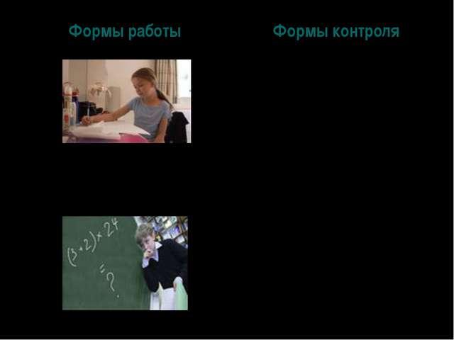 Формы работыФормы контроля Фронтальная Групповая (парная) Индивидуальная Ком...